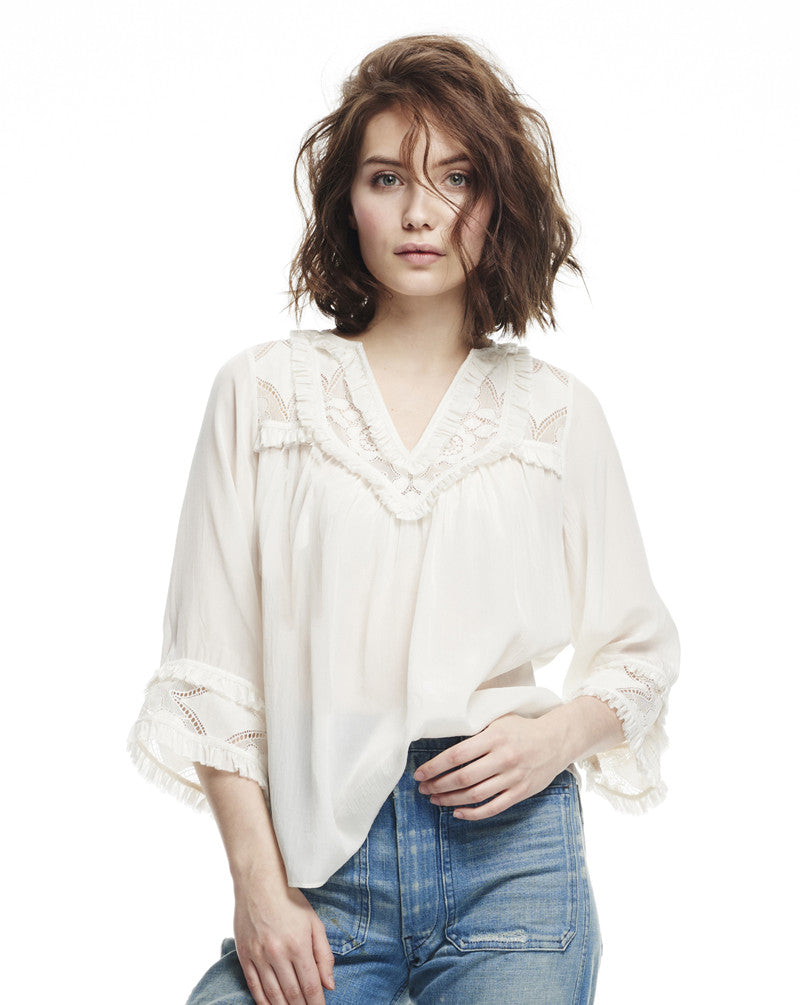 Iris Shirred Edge Peasant Blouse