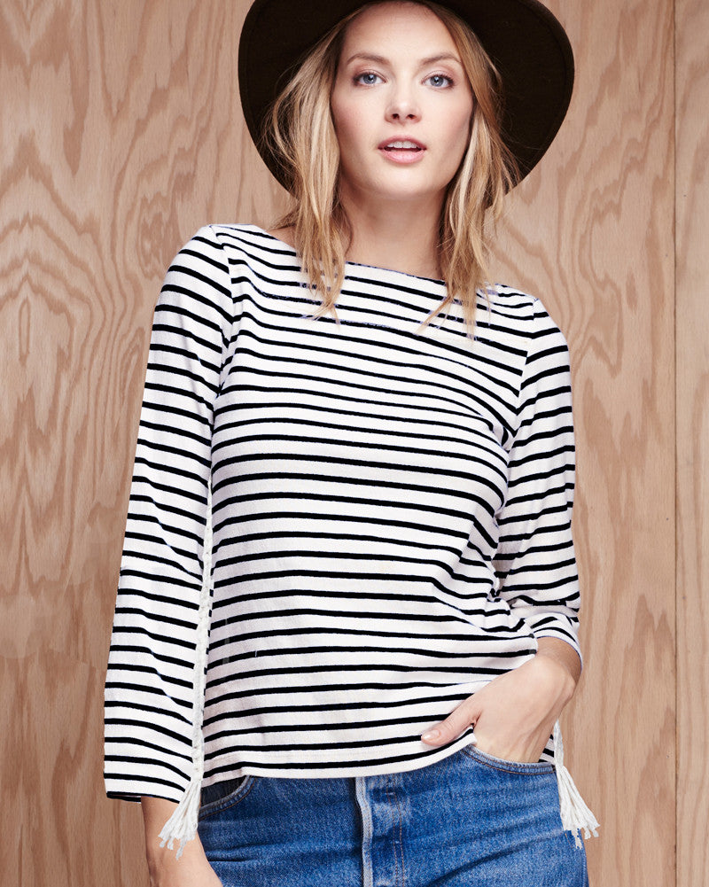Breton Crochet 3/4 Sleeve Top