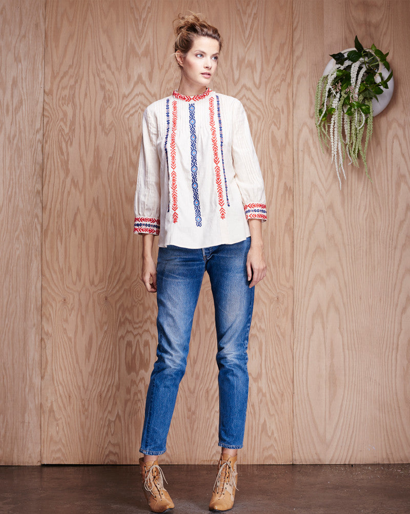 Kate Collection Embroidered Pintuck Blouse