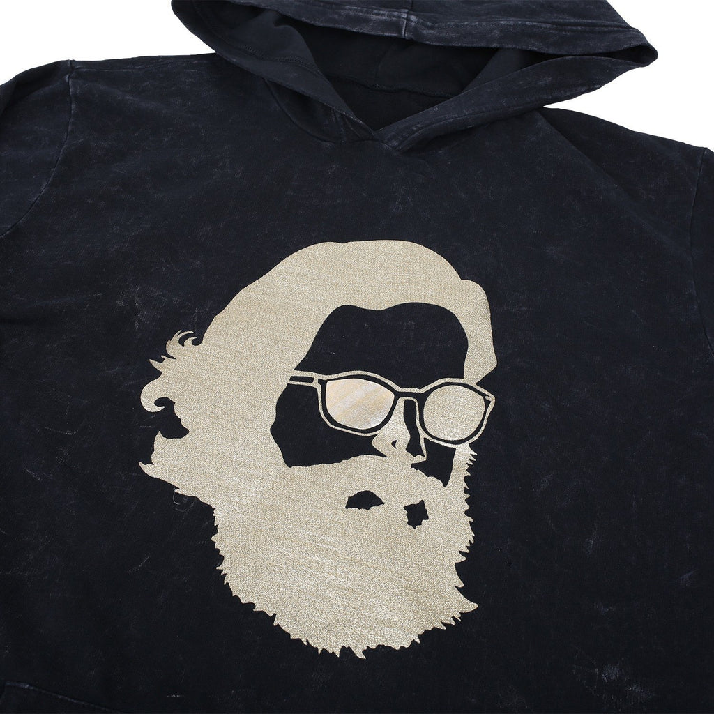 'Misty Face' Tech Wear Hoodie - Black w/ Gold Shimmer