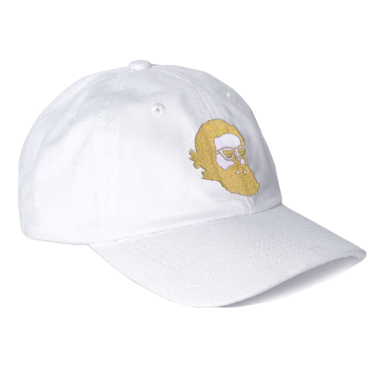 'Misty Face' Embroidered Dad Hat - White
