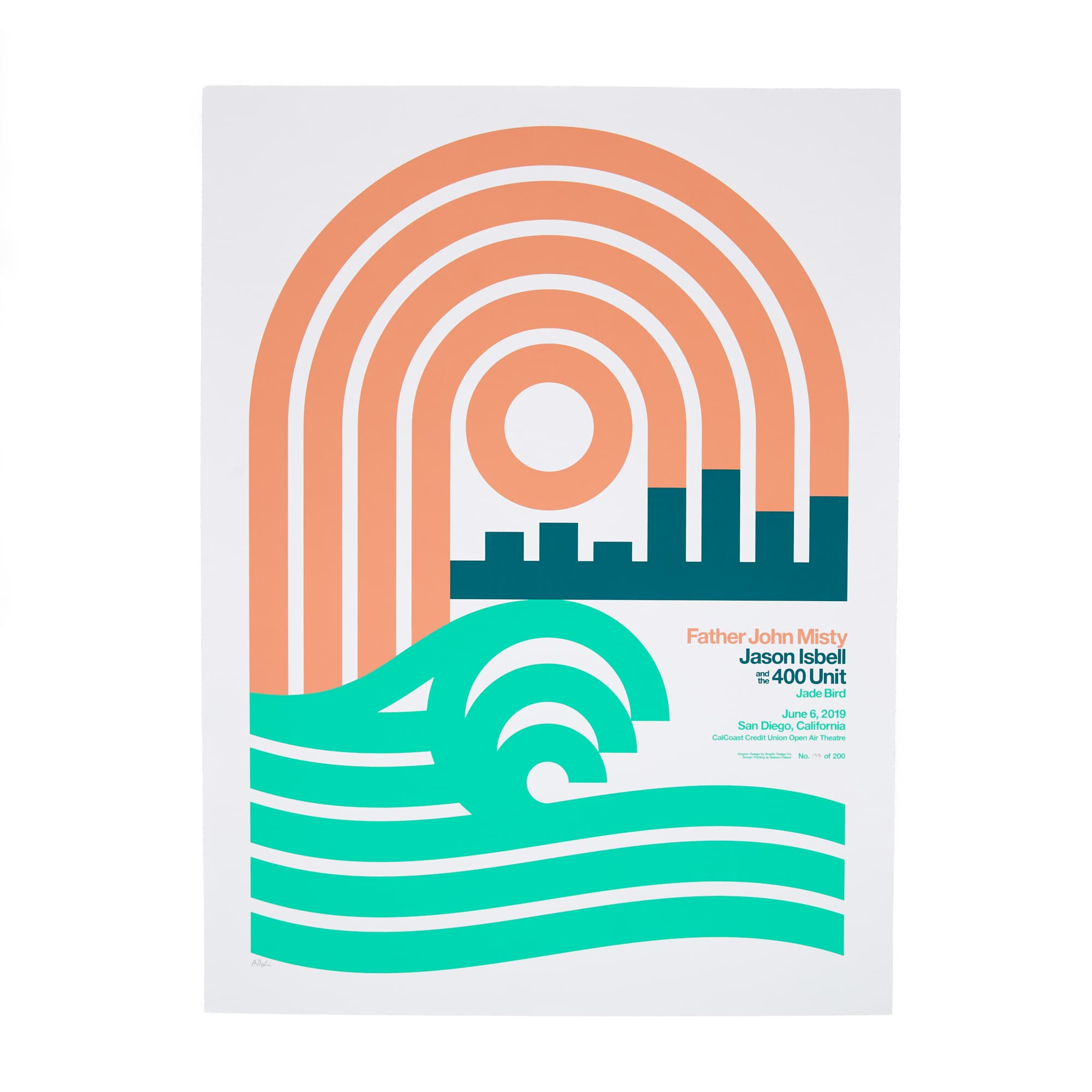 "June 6th 2019 - CalCoast Credit Union Open Air Theatre / San Diego, CA - 18"" x 24"" Screen Printed Poster"