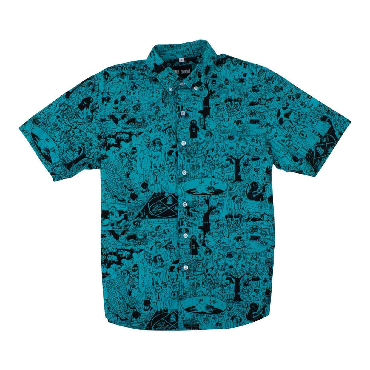 PC Short Sleeve Unisex Oxford Button Up Shirt - Teal