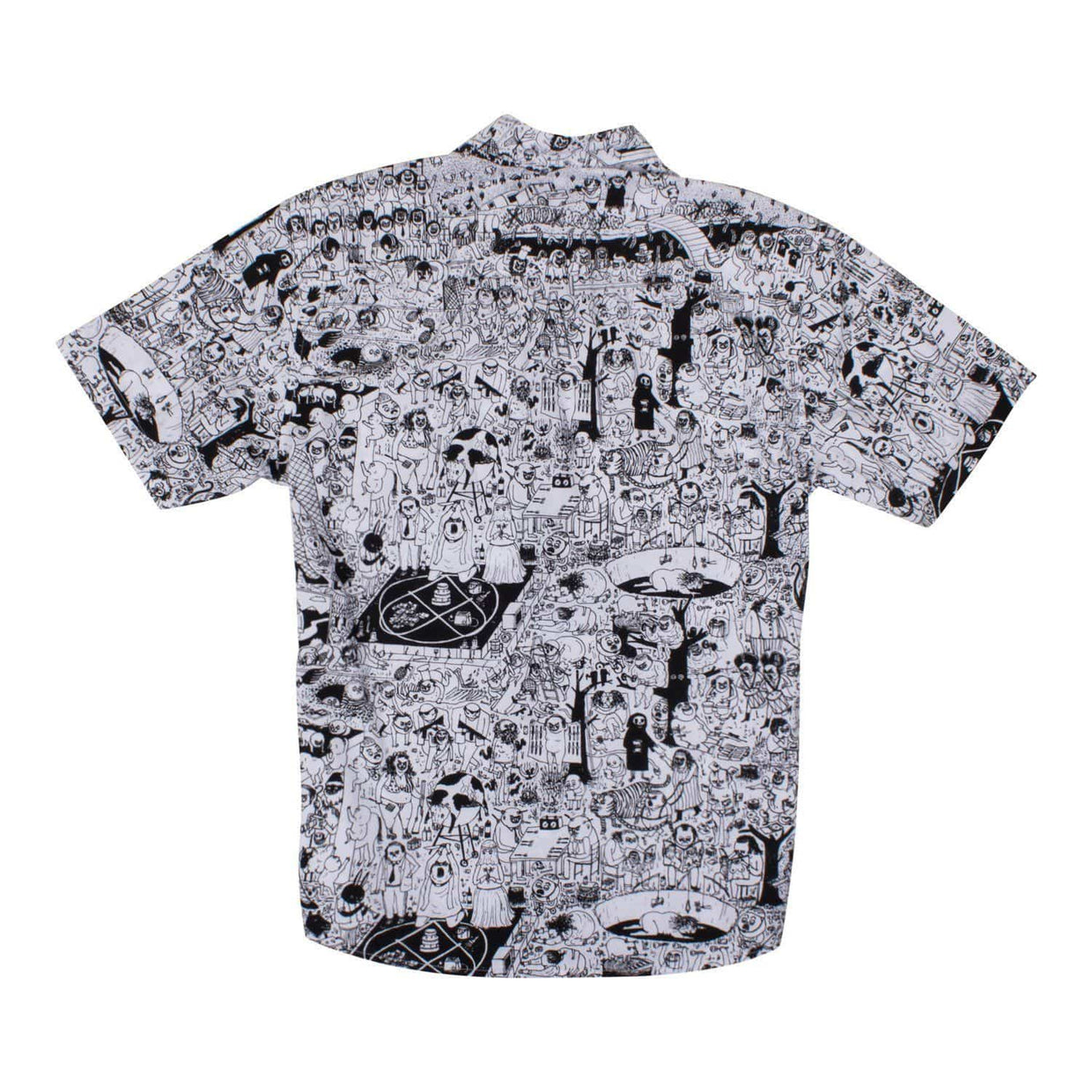 PC Short Sleeve Unisex Oxford Button Up Shirt - White/Black