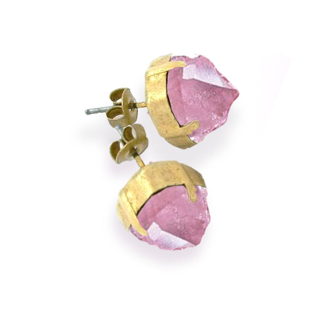 """Rose Quartz Crystal Earrings"" by Misty (PREORDER) ships 10/7"