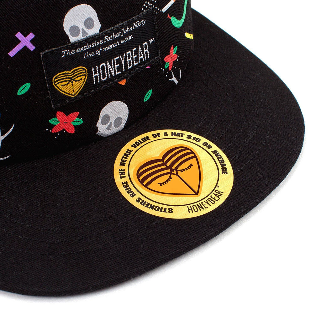 Father John Misty 'HONEYBEAR™' Custom Dye Sub 5-Panel Hat - Sticker
