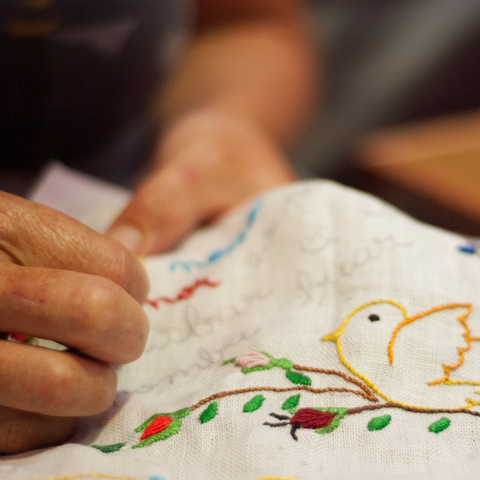 hand embroidery design of bird on branch