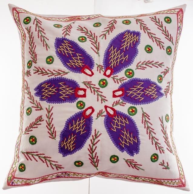 Angel Design Embroidered Pillow on Blue