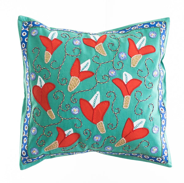 Lirios Design Embroidered Pillow on Teal