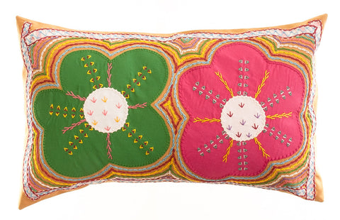 Dos Flores Design Embroidered Pillow on Caramel