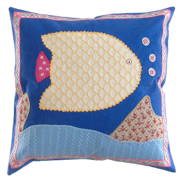 Pescado Design Embroidered Pillow on Blue
