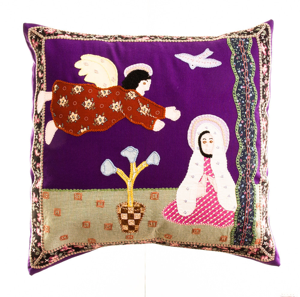 Anunciación Design Embroidered Pillow on purple