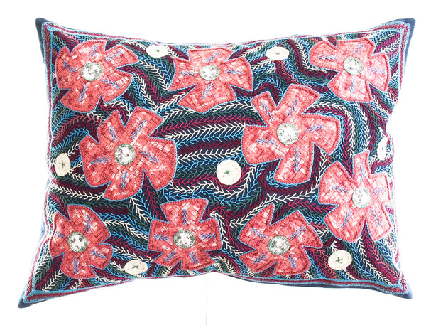 Flores Design Embroidered Pillow on dark slate blue