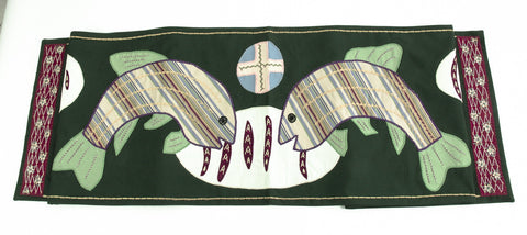 Pan y Pescado Design Embroidered Table Runner on dark green