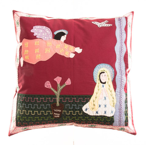 Anunciación Design Embroidered Pillow on red