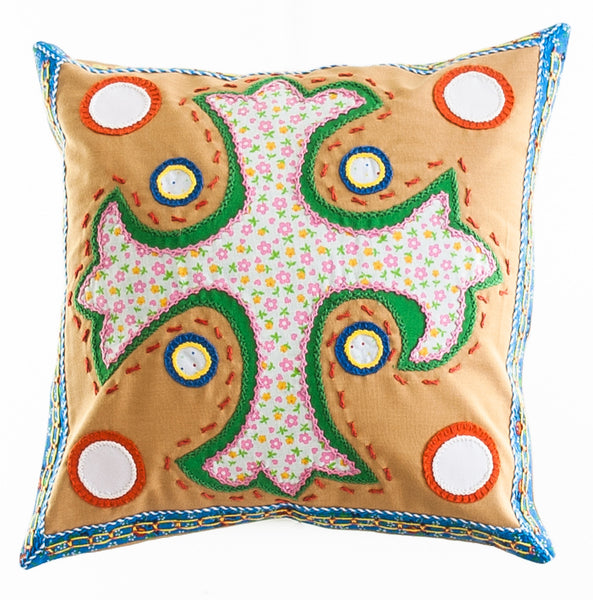 Cruz Dominicana Design Embroidered Pillow on caramel