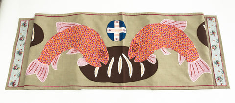 Pan y Pescado Design Embroidered Table Runner on tan