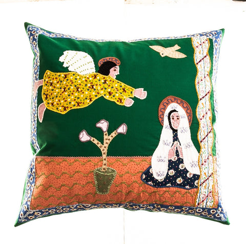 Anunciación Design Embroidered Pillow on green