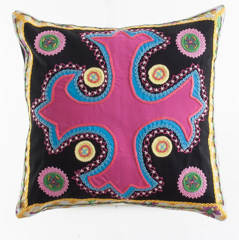Cruz Dominicana Design Embroidered Pillow on black