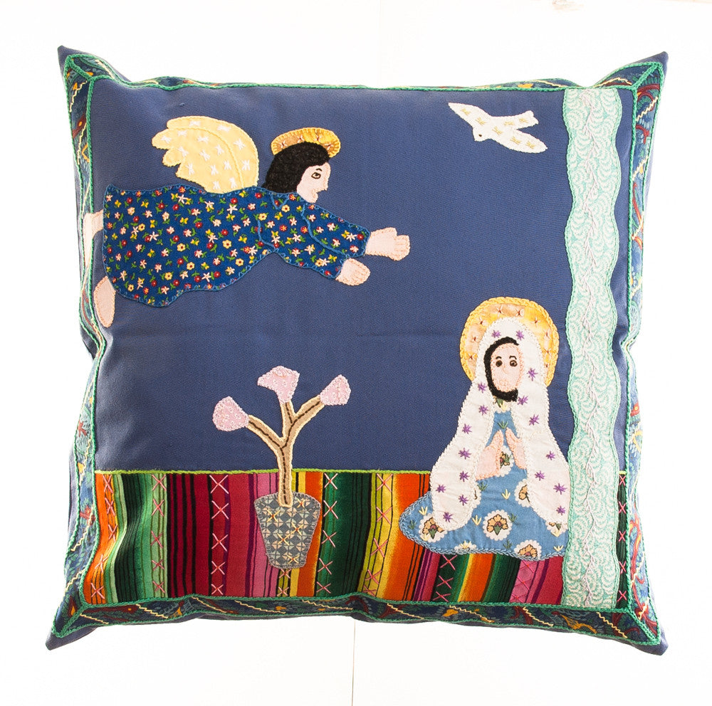 Anunciación Design Embroidered Pillow on slate blue