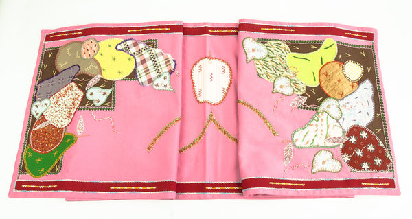 Frutas Design Embroidered Table Runner on dark pink