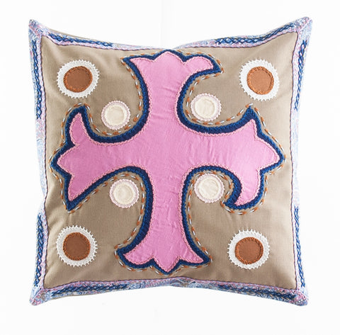 Cruz Dominicana Design Embroidered Pillow on tan
