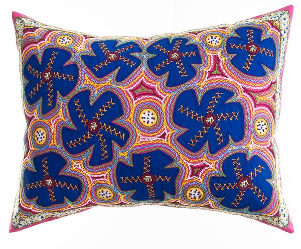 Flores Design Embroidered Pillow on dark pink