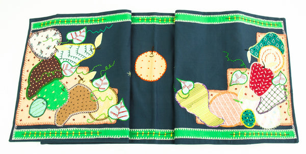 Frutas Design Embroidered Table Runner on Dark Navy