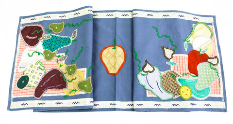 Frutas Design Embroidered Table Runner on slate blue