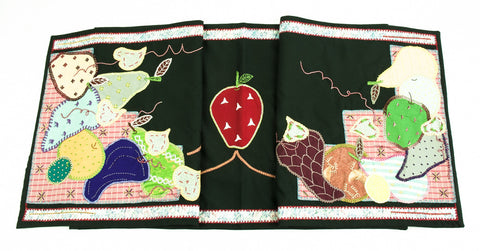 Frutas Design Embroidered Table Runner on dark green