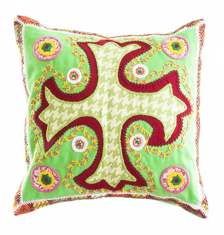 Cruz Dominicana Design Embroidered Pillow on lime green