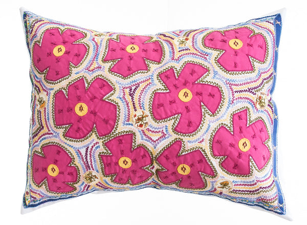 Flores Design Embroidered Pillow on white