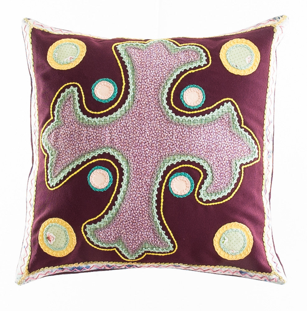 Cruz Dominicana Design Embroidered Pillow on maroon