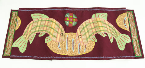 Pan y Pescado Design Embroidered Table Runner on Marsala