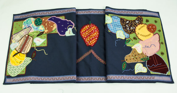 Frutas Design Embroidered Table Runner on navy