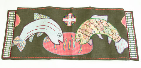Pan y Pescado Design Embroidered Table Runner on Sage