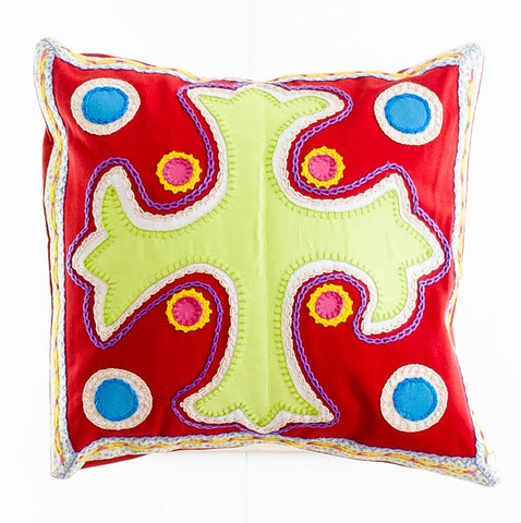 Cruz Dominicana Design Embroidered Pillow on red