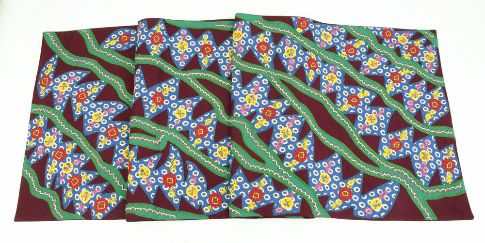 Hojas en el Rio Design Embroidered Table Runner on maroon