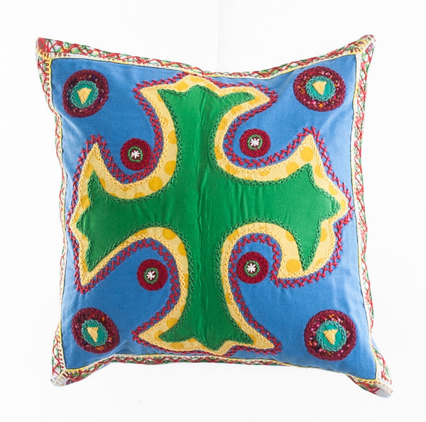 Cruz Dominicana Design Embroidered Pillow on blue