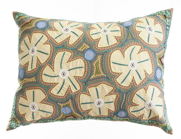 Flores Design Embroidered Pillow on khaki