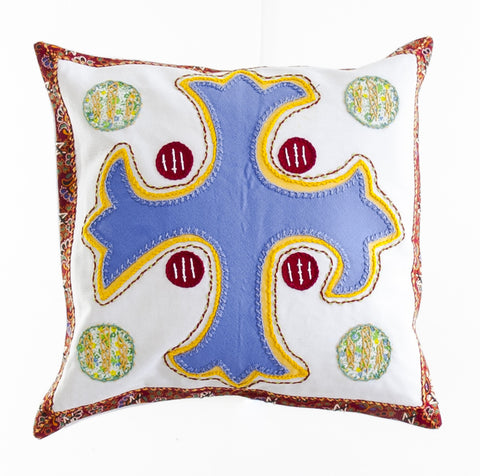 Cruz Dominicana Design Embroidered Pillow on white