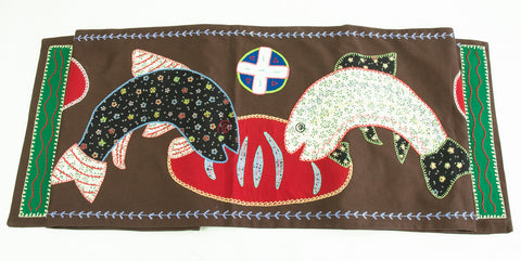 Pan y Pescado Design Embroidered Table Runner on Brown
