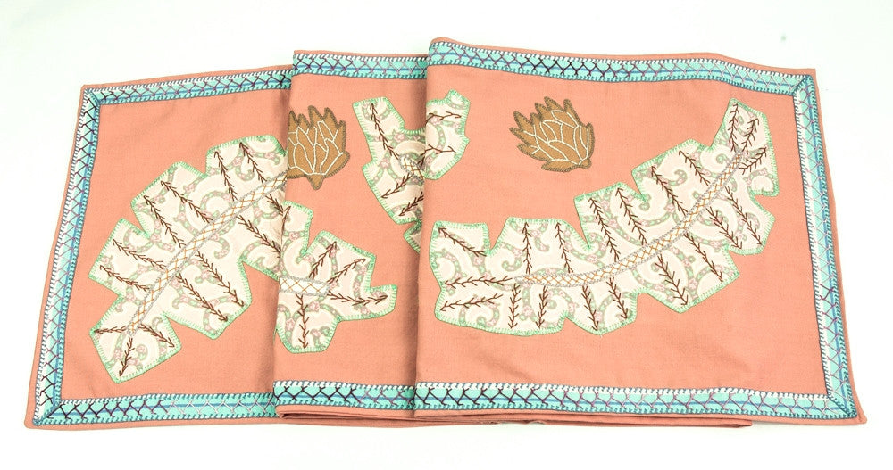 Hojas Design Embroidered Table Runner on Salmon
