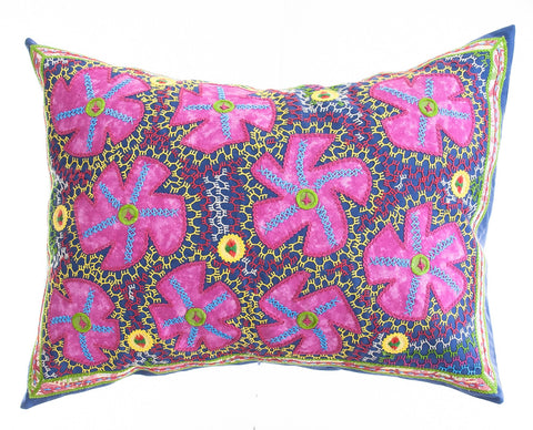 Flores Design Embroidered Pillow on slate blue