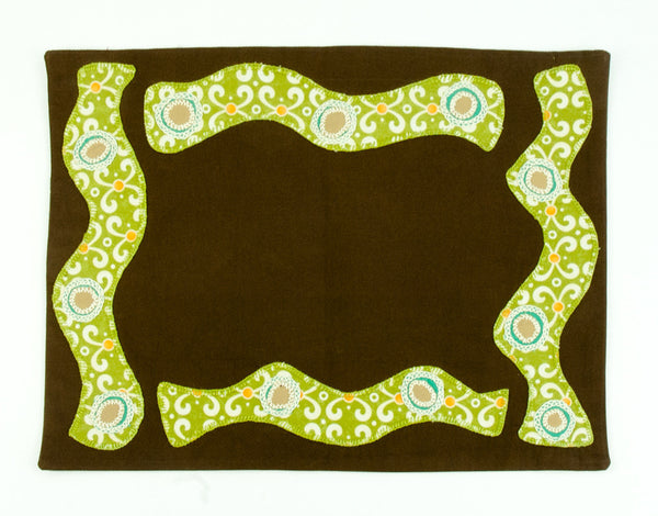 Olas Design Embroidered Placemat on Chocolate