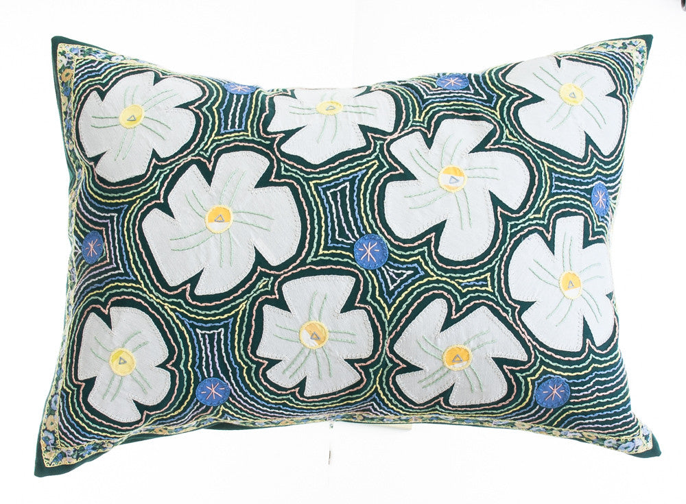 Flores Design Embroidered Pillow on dark green