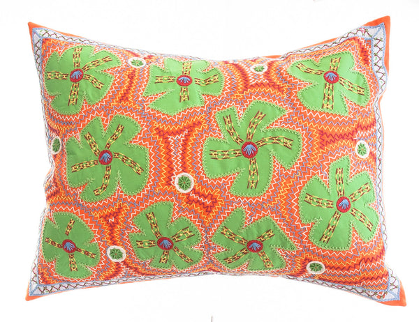 Flores Design Embroidered Pillow on orange