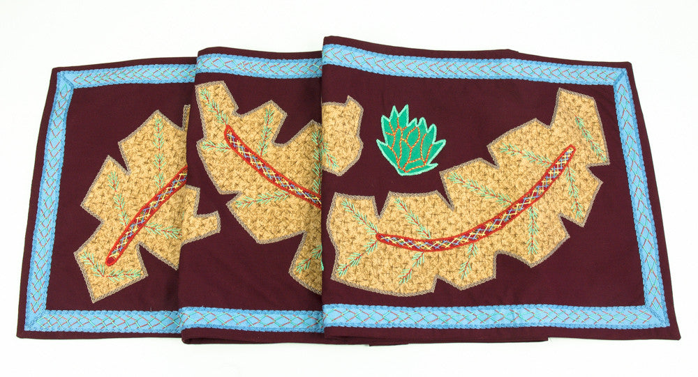 Hojas Design Embroidered Table Runner on maroon
