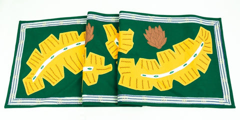 Hojas Design Embroidered Table Runner on green