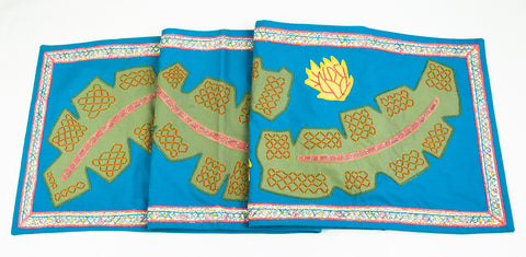 Hojas Design Embroidered Table Runner on Turquoise